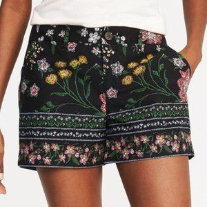 Old Navy Black Multicolor Floral Casual Shorts 0